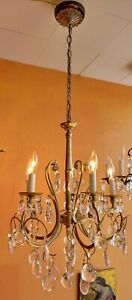 Antique Italian Gilt Tole 5 Arm Chandelier With Lots Of Large Antique Crystals