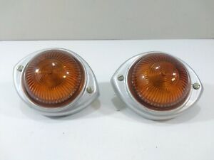 Pair Of Vintage King Bee Amber Glass Marker Lights 522 Truck Cab rat