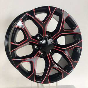 Chevy 20 Black Red Milled Edge Snowflake Wheels For 2000 2020 Silverado Tahoe