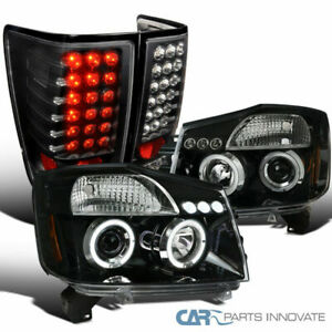 For 04 15 Titan Pearl Black Halo Projector Headlights black Led Tail Brake Lamps