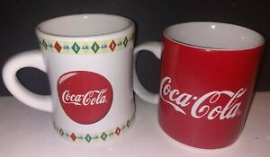 2 coca cola mugs collectible coffee cups vintage 1998-2000