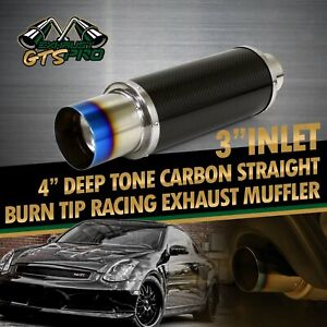 Fit Caddy mazda 1x Na 3 Straight Racing Carbon Exhaust Muffler 4 Blue Burn Tip