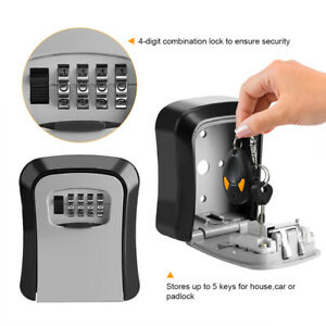 4 Digit Combination Key Safe Security Storage Lock Case Wall Mount Organizer Us