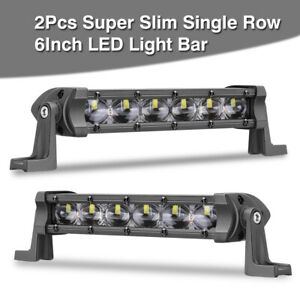 2x 6 inch Cree Led Light Bar Single Row Super Slim Spot Driving Atv Utv Offroad