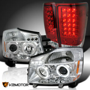 Fits 2004 2015 Nissan Titan Clear Halo Projector Headlights red Led Tail Lamps