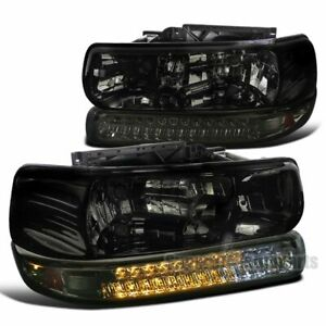 For 1999 2002 Silverado 1500 2000 2006 Tahoe Smoke Headlights Led Bumper Lamps