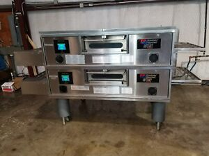 Middleby Marshall Ps770g Wow Dbl stack Nat gas Pizza Conveyor Oven video Demo