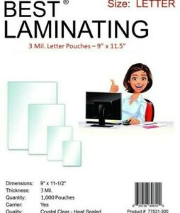 Best Laminating 3 Mil Letter Laminating Pouches 9 X 11 5 1 000 pack