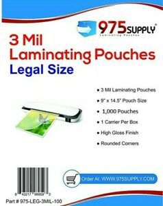 Premium 975 Supply 3 Mil Legal Laminating Pouches 9 X 14 5 1 000 pack