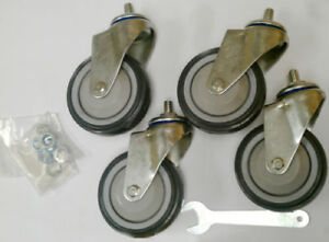 Set Of 4 96cstr 96cstrpk Caster96 4in R b Wire Threaded Stem Casters Wheel