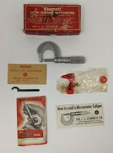Starrett Satin Chrome Micrometer No 231f In Original Box With Instructions