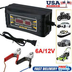 6a 12v Auto Fast Lead acid Gel Battery Charger Maintainer For Car Motorcycle Lcd