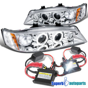 For 1994 1997 Honda Accord Led Halo Projector Headlights H1 Slim Hid Set