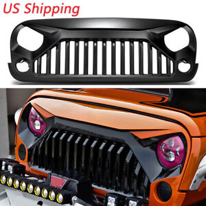Abs Black Upgrade Angry Bird Front Grill Grille Fit 2007 2018 Jeep Wrangler Jk