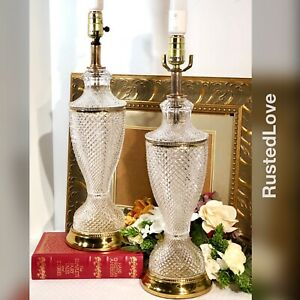 2 Vintage Glass Lamps Hollywood Glam Regency Style Brass Accents