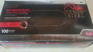 Venom Steel Gloves Rip Resistant Nitrile One Size Fits Most 100ct Box Latex Free