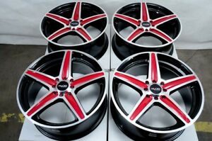 16 Wheels Integra Legend Cobalt Accord Civic Jetta Miata Black Red 4 Lugs Rims