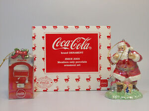 2005 Santa and Coca Cola Machine Porcelain Members Only Ornament Set #CLBPSET-DB
