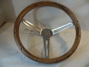 Solid Wood Dovetailed Vintage Hand Made Car Steering Wheel 3 Spoke Chrome 15 25