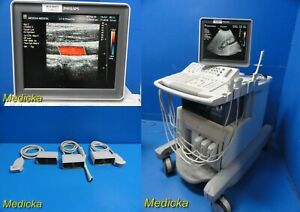 Philips Hdi 5000 Sono Ct Flat Lcd Diagnostic Ultrasound W 3x Probes 19473