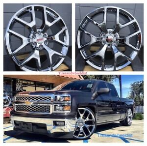 24 Gmc Sierra Chrome With Tires Denali Chevy Silverado Tahoe Wheels Yukon Rims