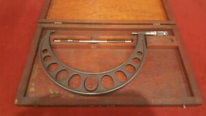 Brown Sharp Machinist 10 11 Outside Micrometer With Wooden Case