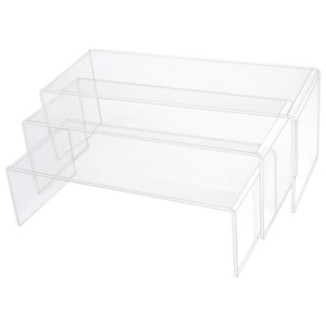 3 Pack Large Clear Acrylic Riser Set Display Shelf Showcase Fixtures For Jewelry