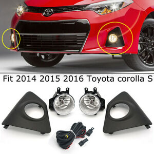 Fit 2014 2015 2016 Toyota Corolla S Front Driving Fog Light Lamp Set Kit