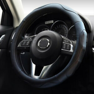 3d Massage Breathable Steering Wheel Cover For Car Pu Leather Black 38cm 15 In