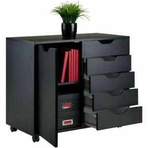 Wood Filing Cabinet 5 Drawers Plus 2 compartment Cabinet black Color