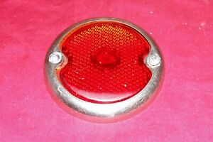 Old 4 Red Glass Rear Light Lens Trim Ring Brake Stop Vintage Car Auto Truck