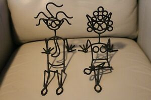 Whimsical Black Metal Couples Business Card Holder