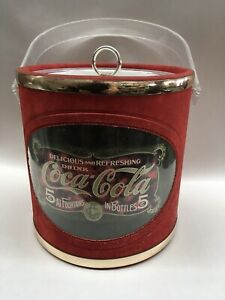 Vintage coca-cola ice bucket red & gold made in USA