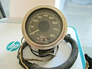 Vintage Rare Sun 8000 Rpm Tachometer W Chrome Cup Hot Rat Rod Gasser Race Tach