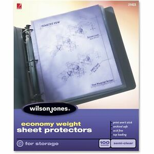 Wilson Jones Economy Weight Top loading Sheet Protectors Semi Clear 100 Box