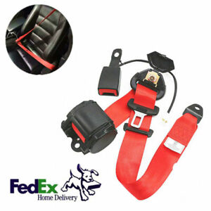 Red 3 Point Retractable Car Safety Seat Belts Seatbelts W Buckle Warning Cable