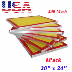6pack 20 x24 Aluminum Frame Screen Printing Screens With 230 Yellow Mesh Ky