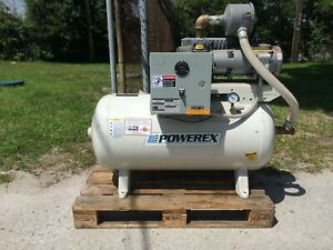 1 5hp Powerex Vacuum Compressor 60 Gallon Horizontal Tank