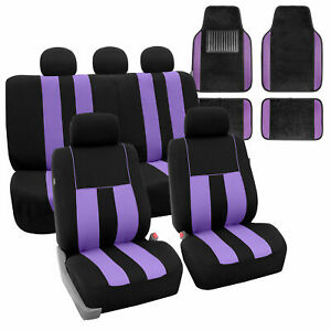 Full Set Car Seat Covers For Auto Suv Van Purple Black With Carpet Floor Mat