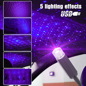 Usb Car Interior Atmosphere Star Sky Lamp Ambient Star Light Led Projector Blue