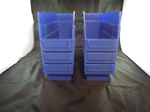 Uline Plastic Nesting Storage Shelf Bins New 11 X 4 X 6 Set Of 6