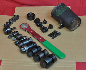 Large Lot Of Greenlee Knockout Punch Es And Dies Hand Tool Set No 737 Extras