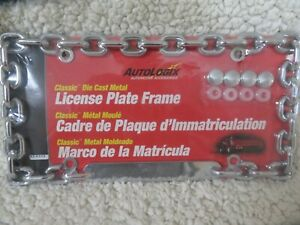 Autologix Die Cast Metal Chrome Chain License Plate Cover Frame Free Ship