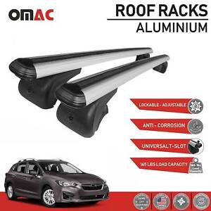 Roof Rack Cross Bars Luggage Carrier Lockable Silver For Subaru Impreza 2017 20
