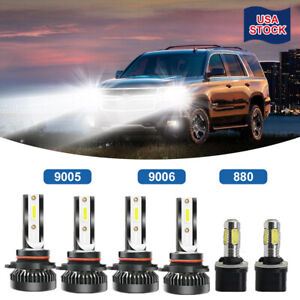 For Gmc Yukon Denali 2004 05q Combo 9005 9006 880 Led Headlight Fog Bulbs White