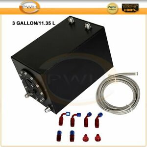 3 Gallon 11 35 Liter Coated Racing Fuel Cell Gas Tank Cap Nylon Braided Line Kit