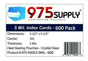975 Supply 5 Mil Index Card Laminates 3 5 X 5 5 600 pack
