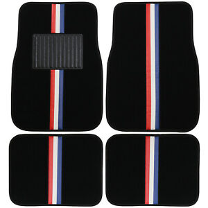 New 4pc Racing Stripes Red White Blue Car Truck Front Rear Carpet Floor Mats Set