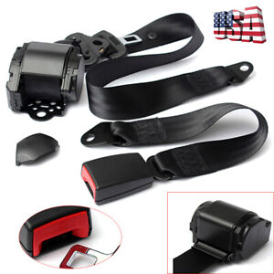Black Retractable Car 3 Point Seat Belt Lap Buckle Kit W Quick Release Camlock