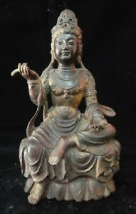 Very Fine Large Old Chinese Bronze Guanyin Buddha Statue Sculpture